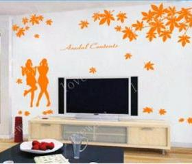 Maple Leaf fall falling girl girls asadal contents Vinyl Wall Decal Sticker living room bed room sticker Art Home Murals 1360