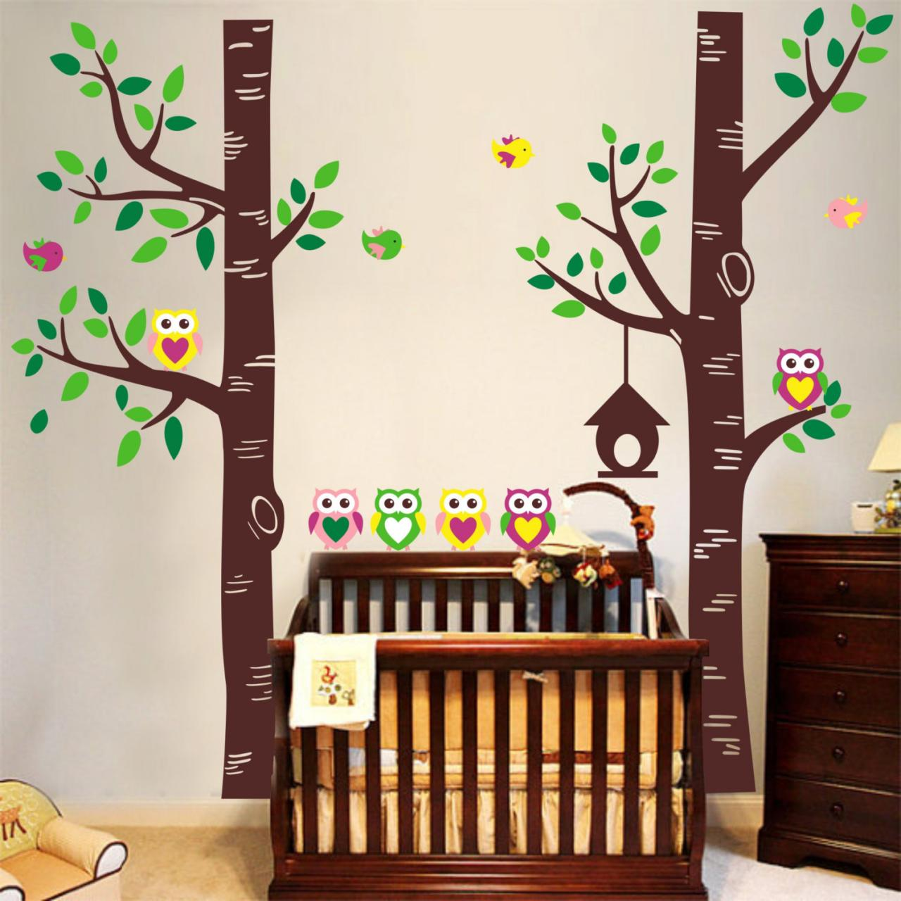 two lartge tree forest with owl family leaves leaf bird owls art decals wall sticker vinyl wall. Black Bedroom Furniture Sets. Home Design Ideas