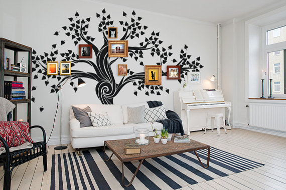 Nursery large photo family tree picture frames frame trees for What kind of paint to use on kitchen cabinets for wall sticker posters