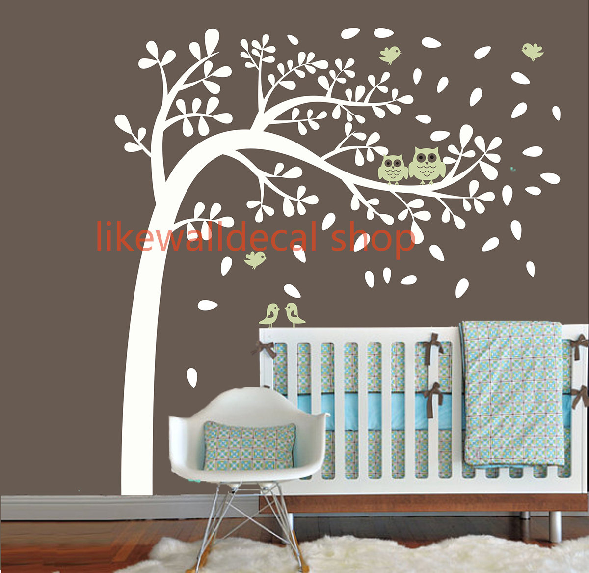 Vinyl wall decal wind blossom tree flying leaf cute bird for Bird and owl tree wall mural set