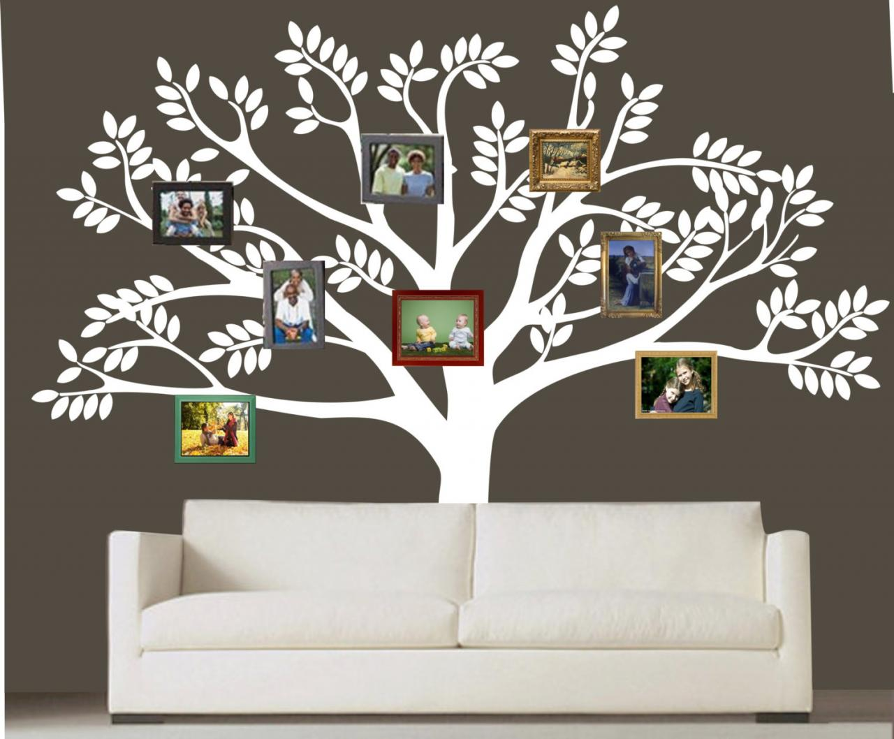 custom family tree decal vinyl wall decal photo white tree decals leaf leaves home baby room. Black Bedroom Furniture Sets. Home Design Ideas